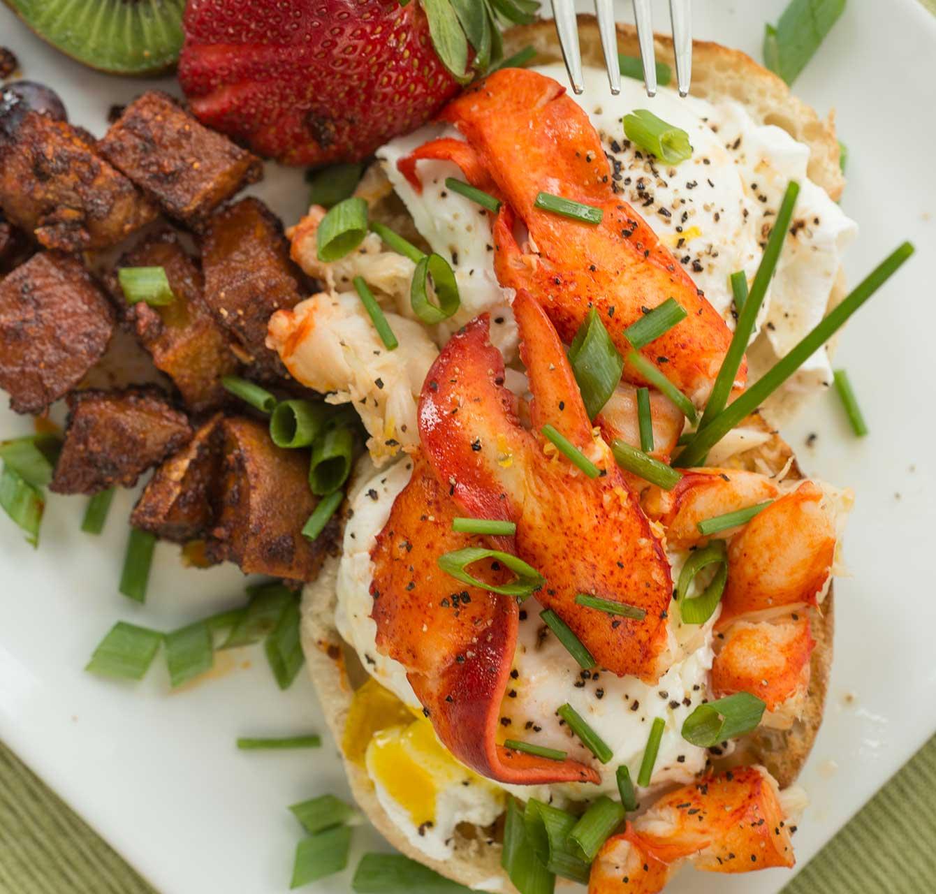 Lobster eggs benedict breakfast