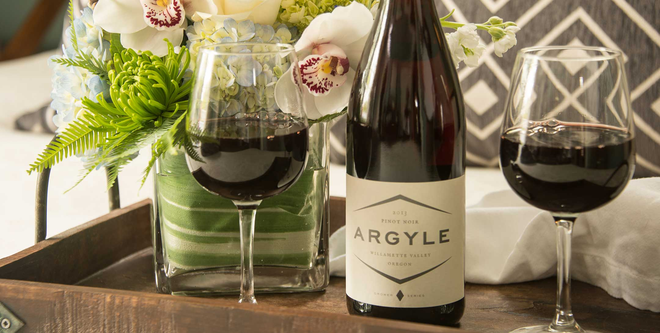 Argyle Pinot Noir wine and flowers