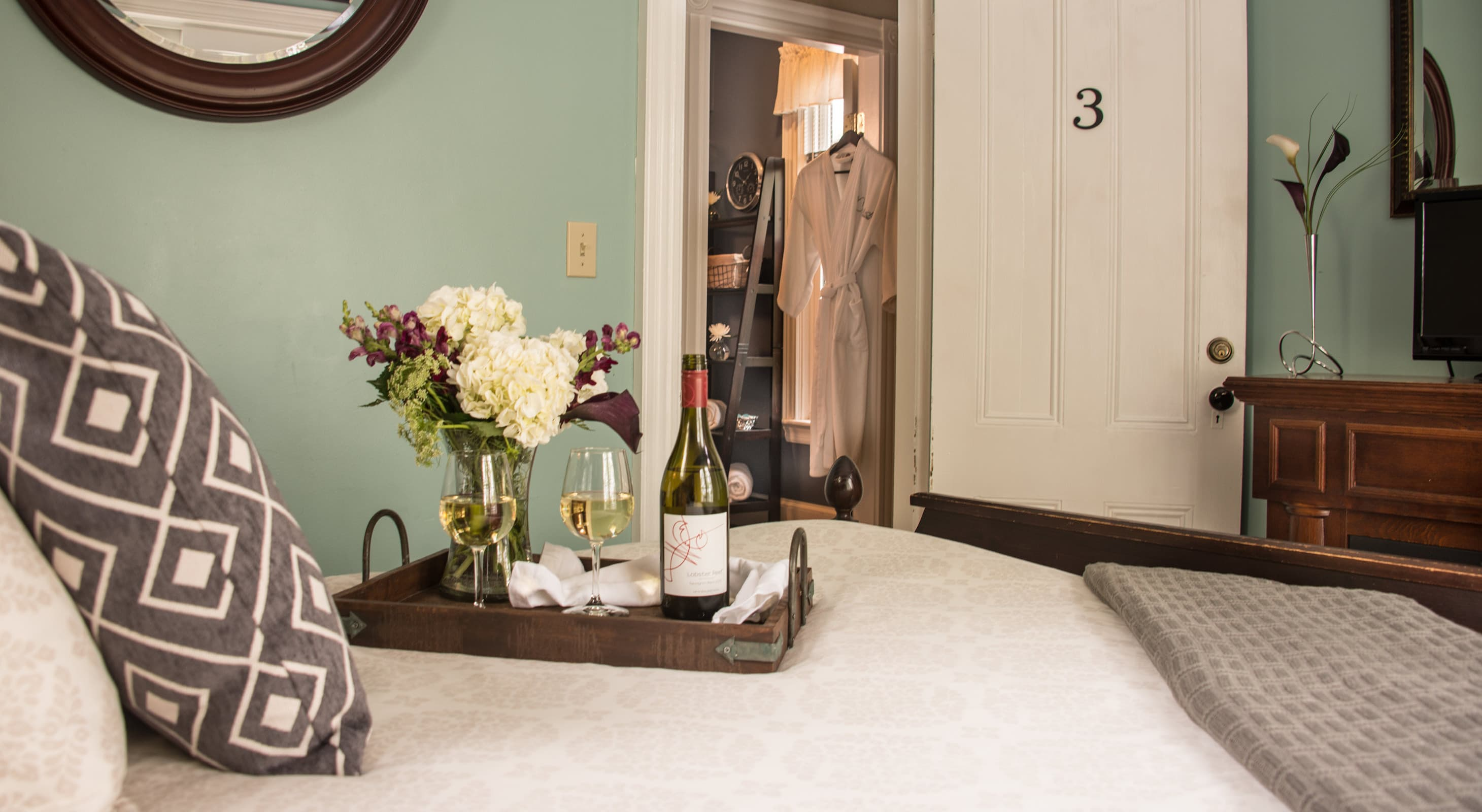 Flowers and wine for a romantic Maine getaway