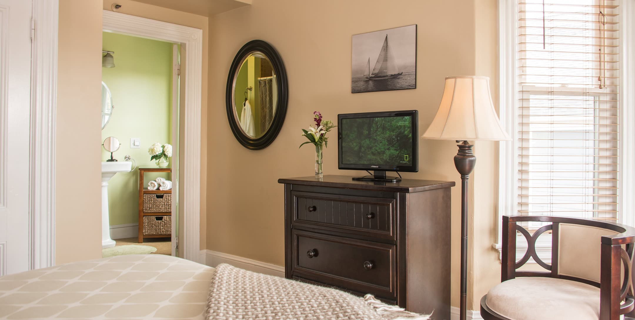 The Longfellow Room dresser with TV on top