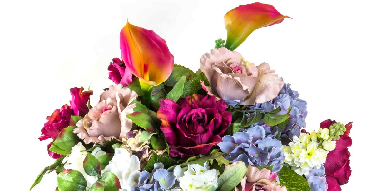 beautiful colorful bouquet with hydrangeas, roses and calla lilies