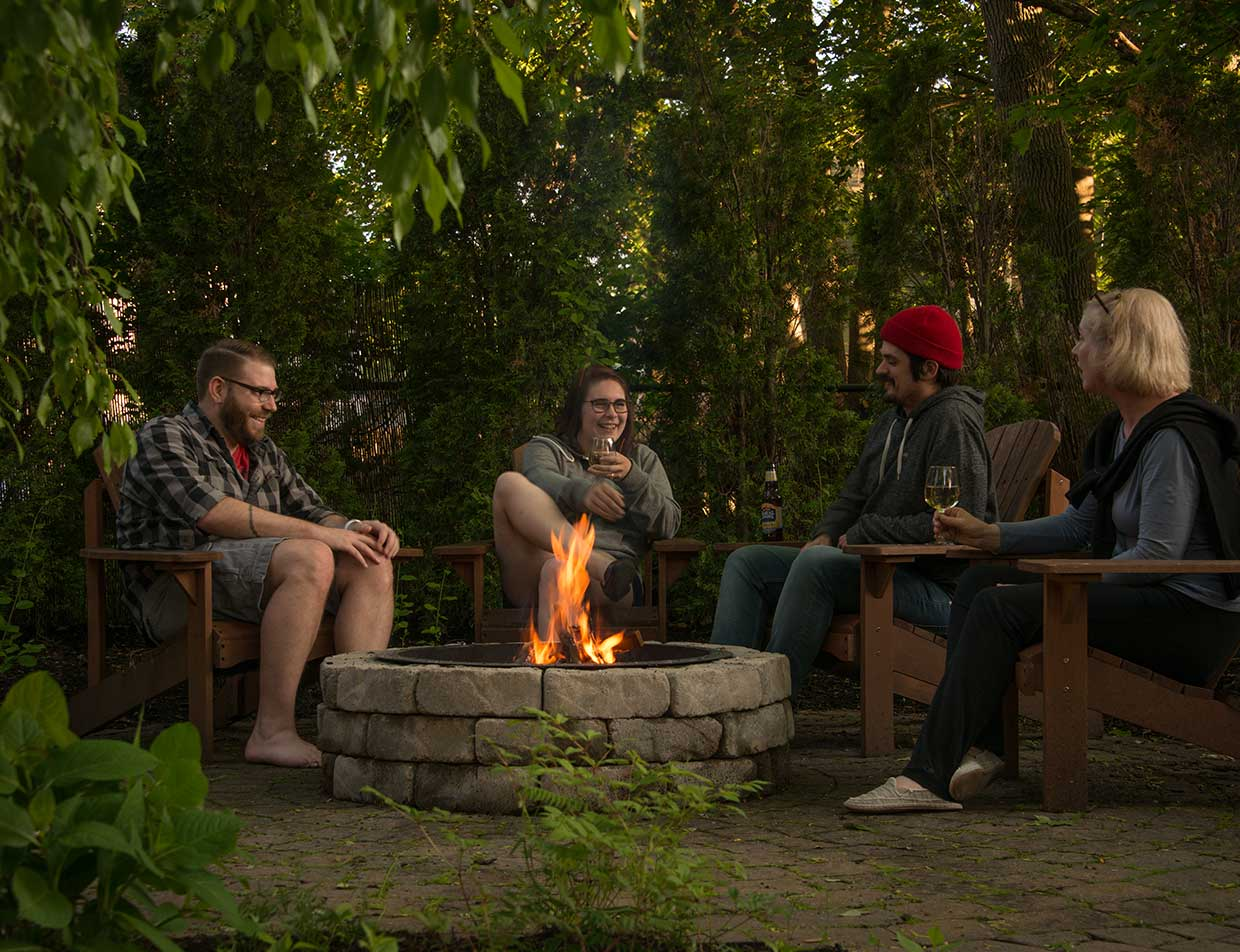 Guests at the outdoor fire pit