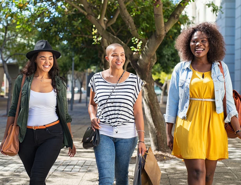 three women shopping in Portland, Maine