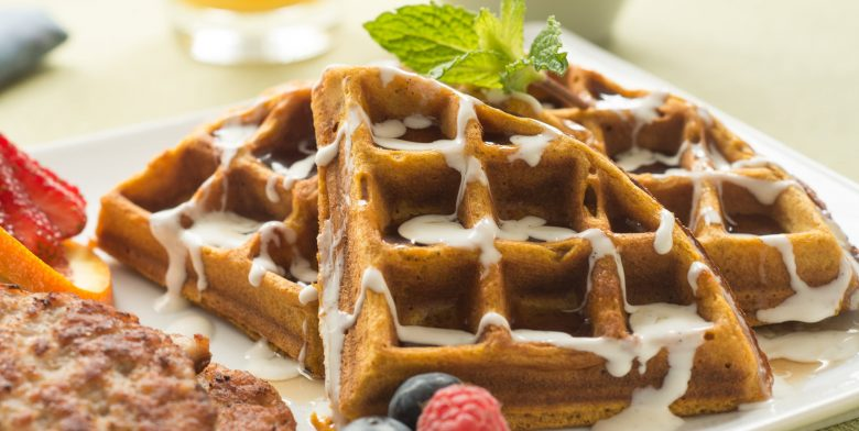 pumpkin spice waffles waffles drizzled with vanilla bean cream